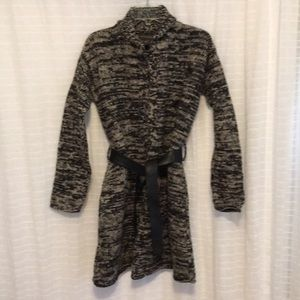 Long sweater, genuine leather belt included!